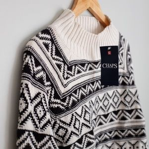 NWT - Chaps Cozy Winter Sweater in Black and White